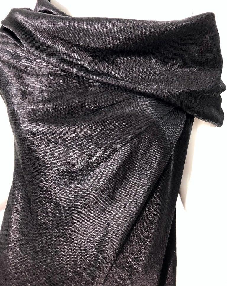 Women's NWT 1990s Donna Karan Size 8 Black Metallic Rayon Off - Shoulder Vintage Dress For Sale