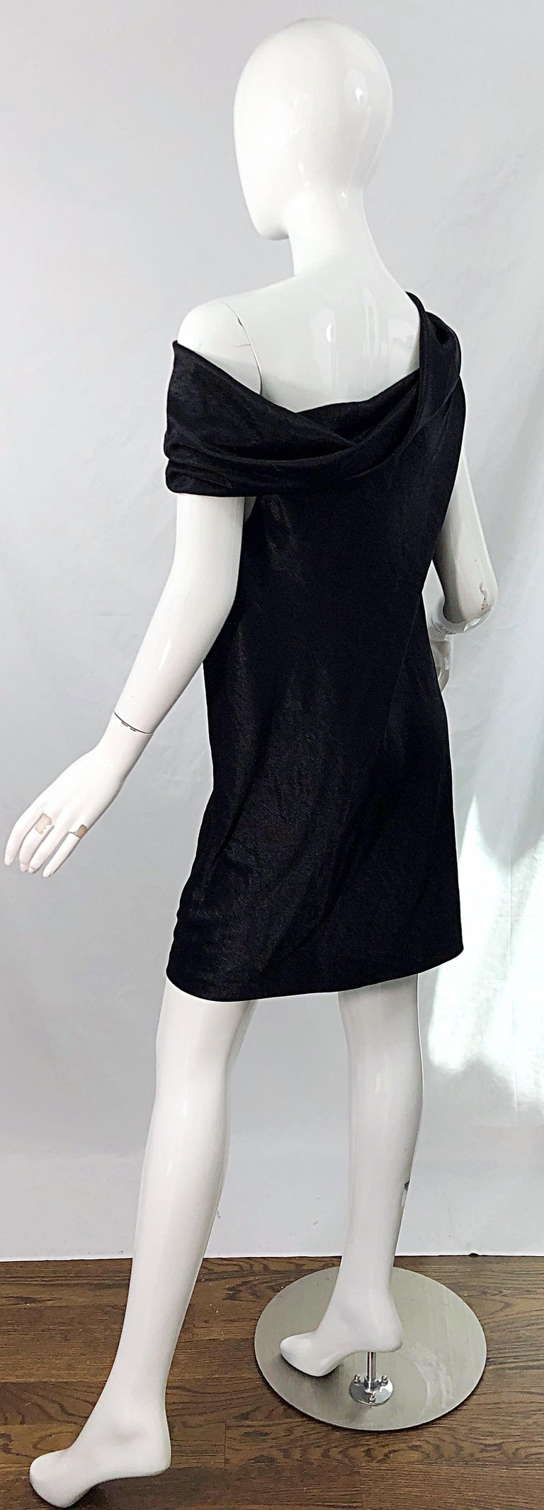 NWT 1990s Donna Karan Size 8 Black Metallic Rayon Off - Shoulder Vintage Dress For Sale 1