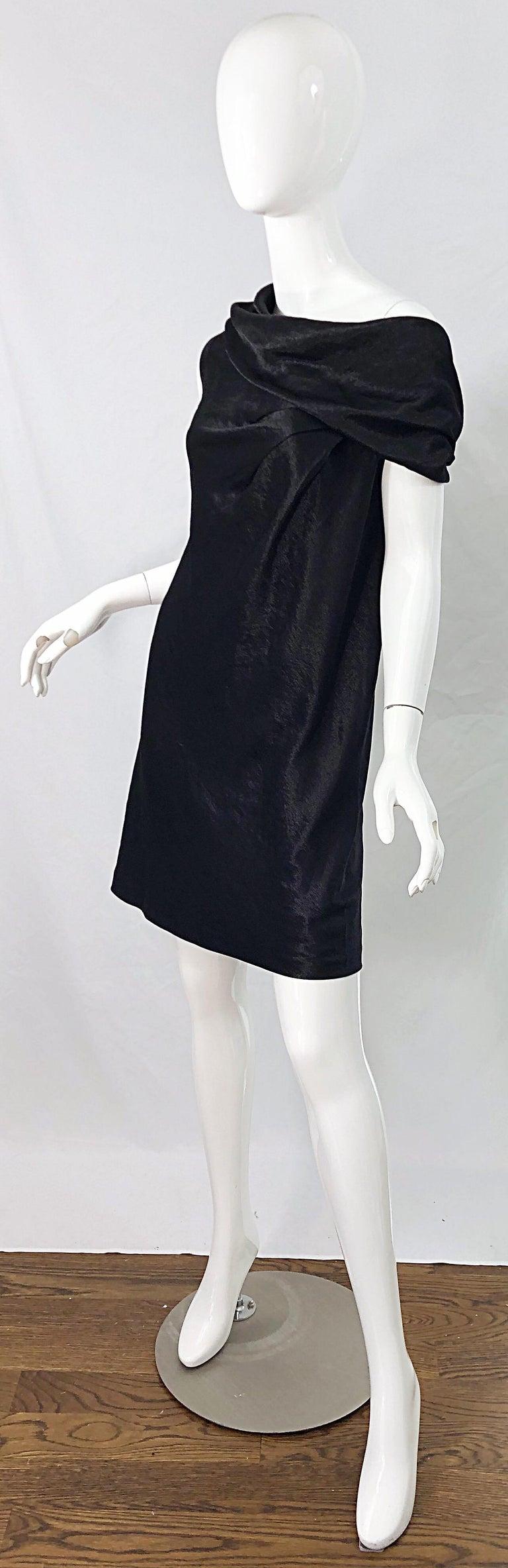 NWT 1990s Donna Karan Size 8 Black Metallic Rayon Off - Shoulder Vintage Dress For Sale 2