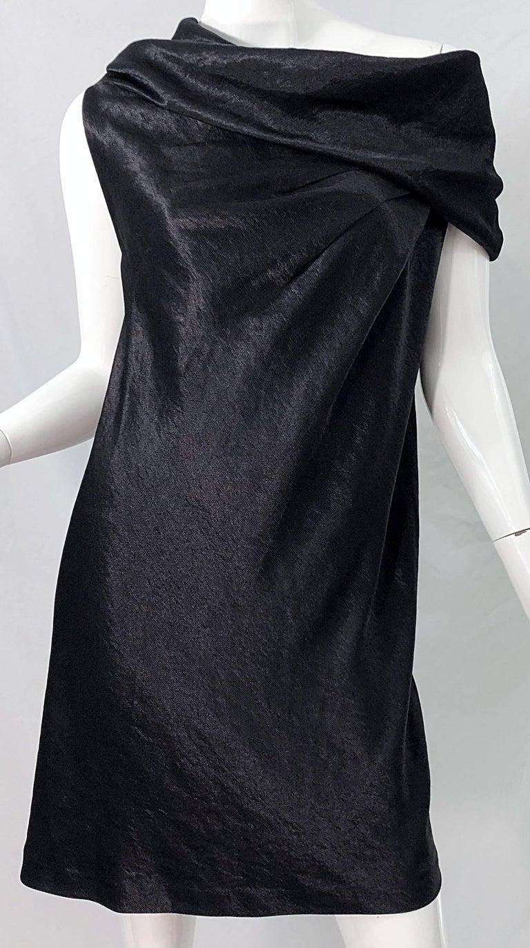 NWT 1990s Donna Karan Size 8 Black Metallic Rayon Off - Shoulder Vintage Dress For Sale 3
