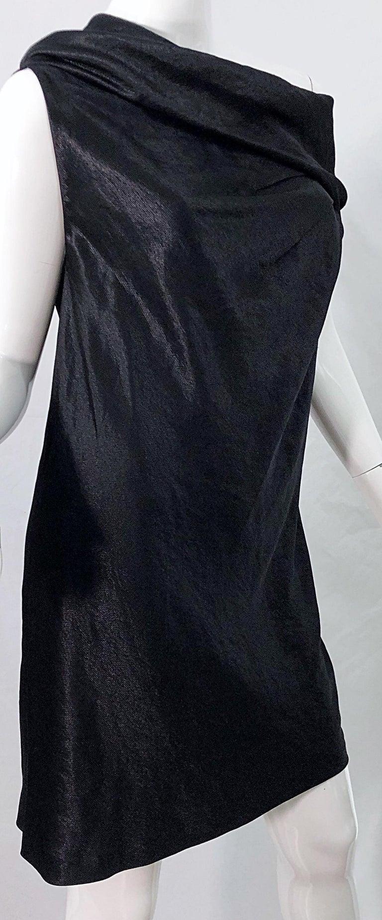NWT 1990s Donna Karan Size 8 Black Metallic Rayon Off - Shoulder Vintage Dress For Sale 4
