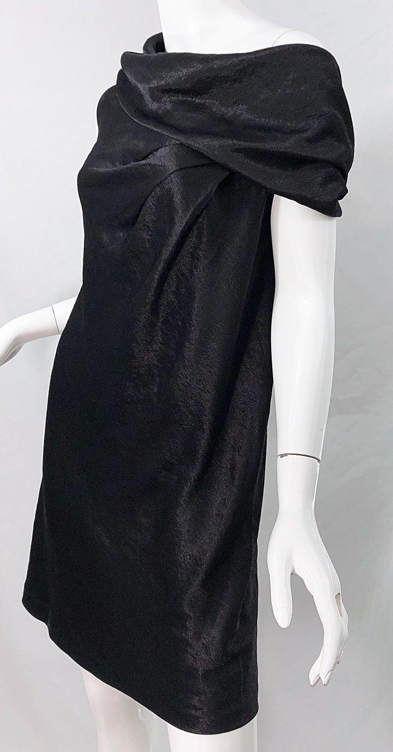 NWT 1990s Donna Karan Size 8 Black Metallic Rayon Off - Shoulder Vintage Dress For Sale 5