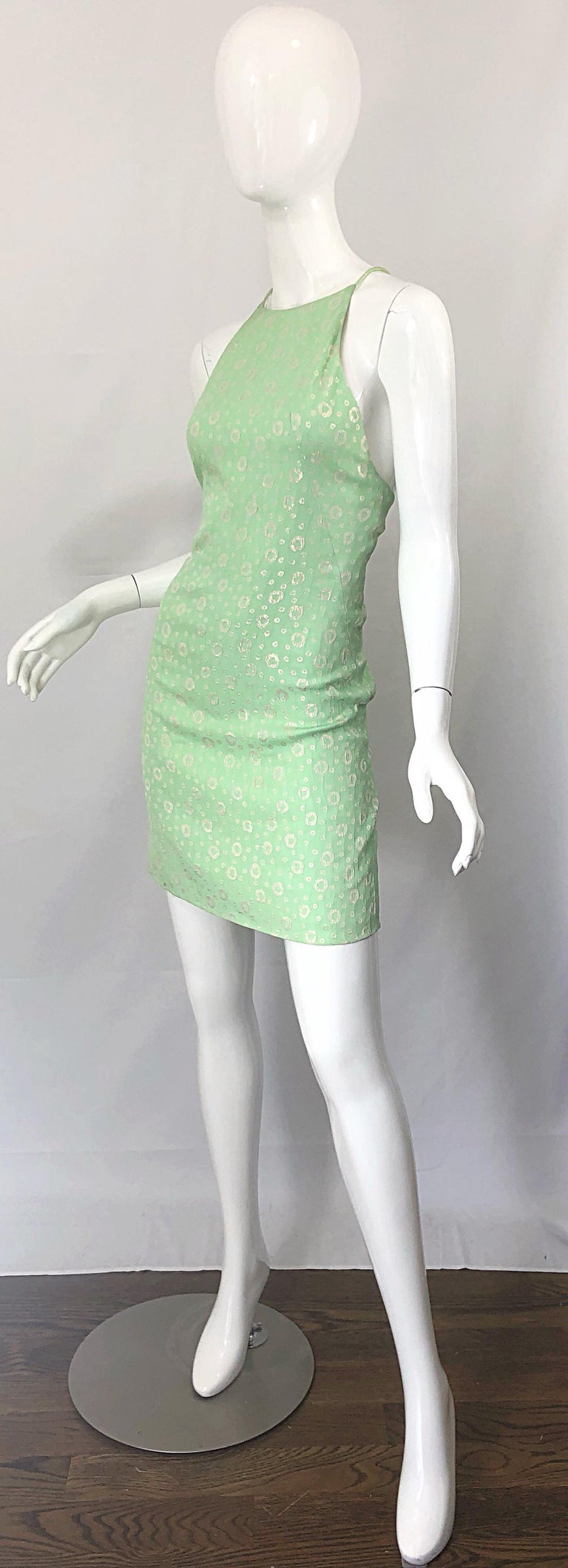 NWT 1990s James Purcell Size 4 / 6 Mint Sherbet Green Gold Racerback Silk Dress For Sale 6