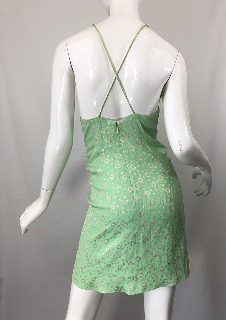 NWT 1990s James Purcell Size 4 / 6 Mint Sherbet Green Gold Racerback Silk Dress For Sale 7