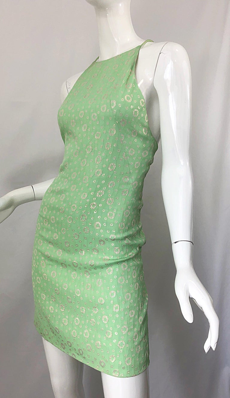 NWT 1990s James Purcell Size 4 / 6 Mint Sherbet Green Gold Racerback Silk Dress For Sale 8