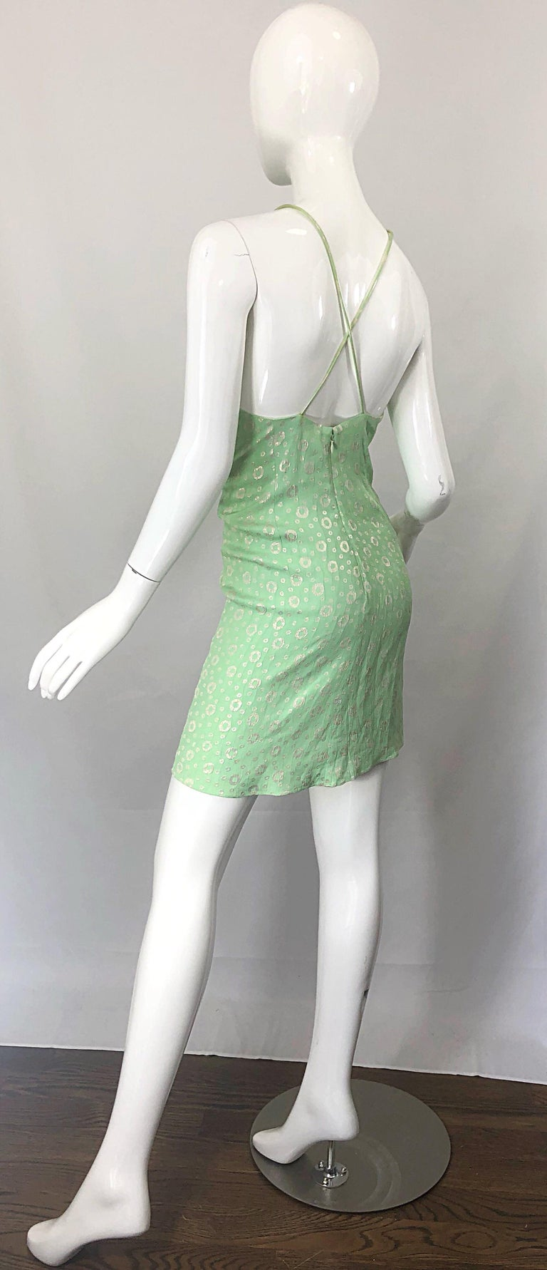 NWT 1990s James Purcell Size 4 / 6 Mint Sherbet Green Gold Racerback Silk Dress For Sale 9