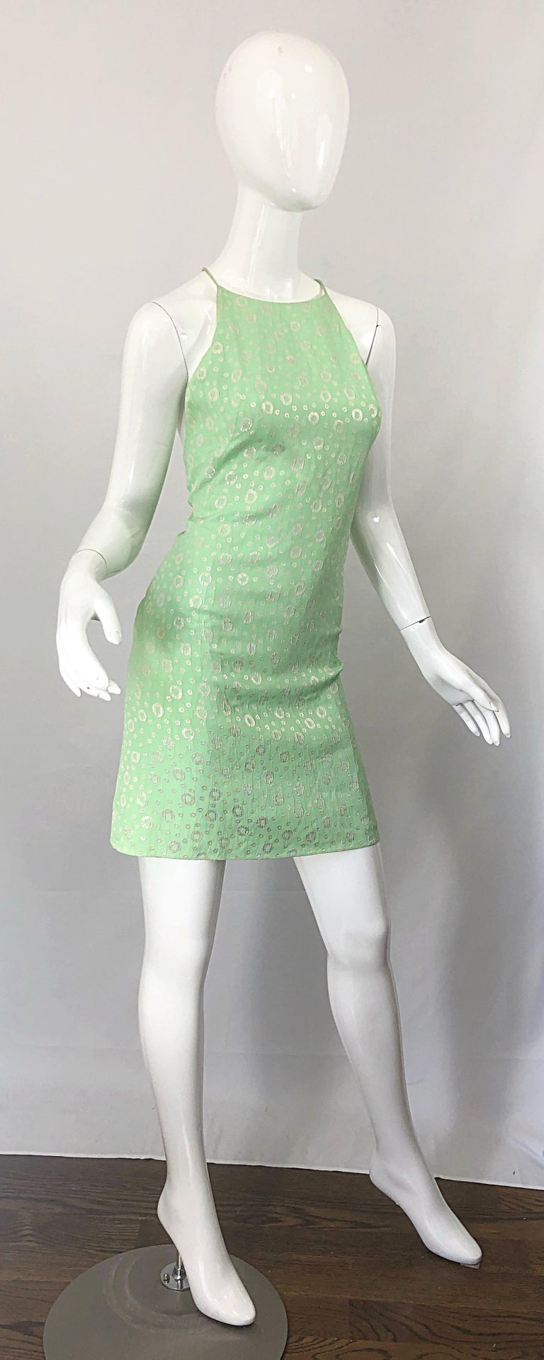 NWT 1990s James Purcell Size 4 / 6 Mint Sherbet Green Gold Racerback Silk Dress For Sale 10