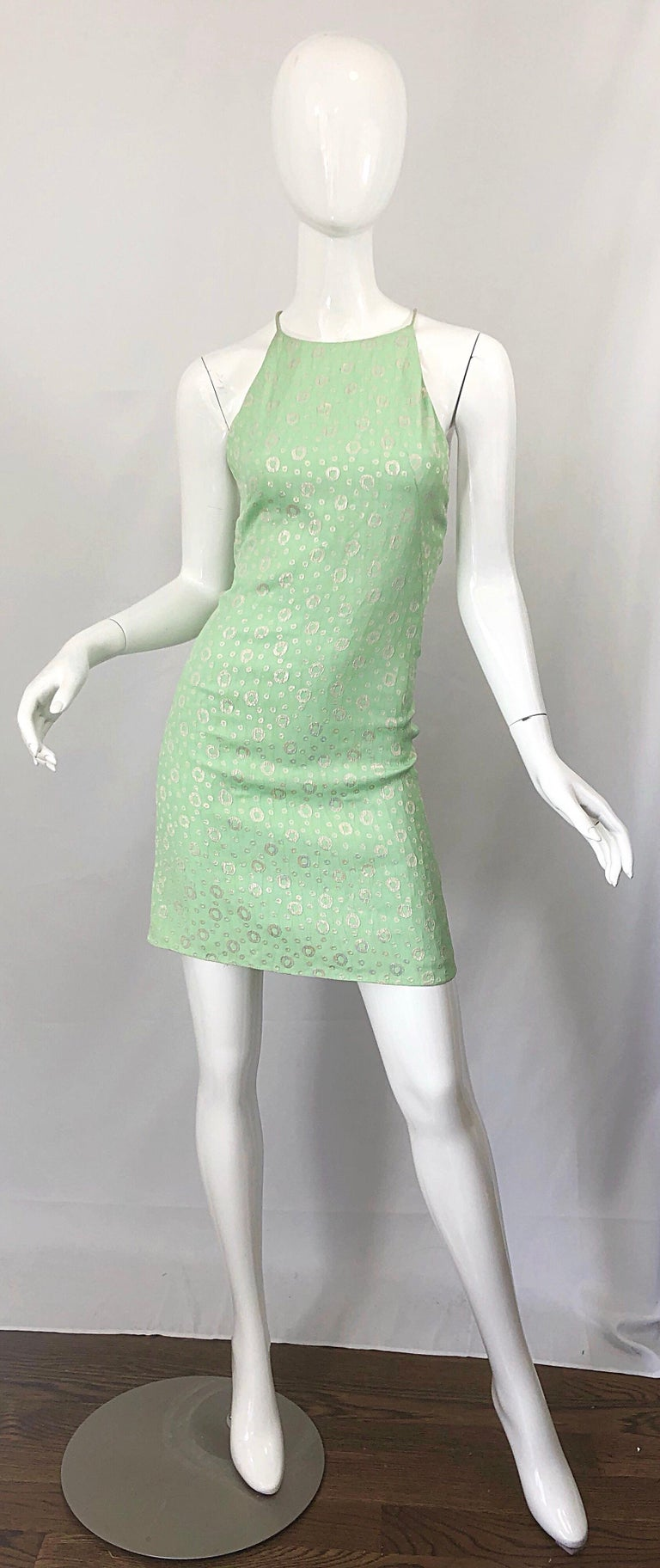 NWT 1990s James Purcell Size 4 / 6 Mint Sherbet Green Gold Racerback Silk Dress For Sale 11