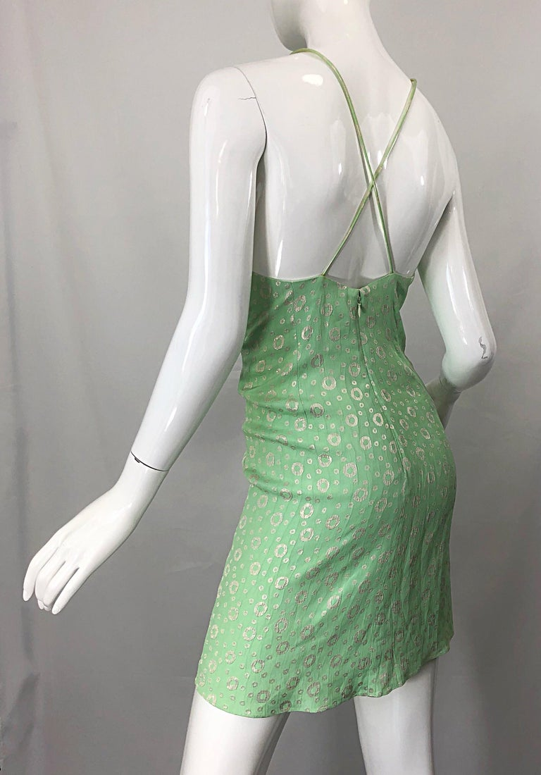 NWT 1990s James Purcell Size 4 / 6 Mint Sherbet Green Gold Racerback Silk Dress For Sale 2