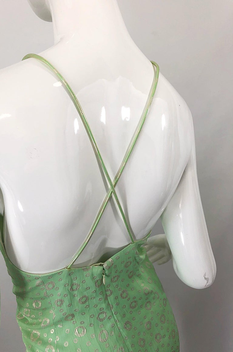 NWT 1990s James Purcell Size 4 / 6 Mint Sherbet Green Gold Racerback Silk Dress For Sale 3