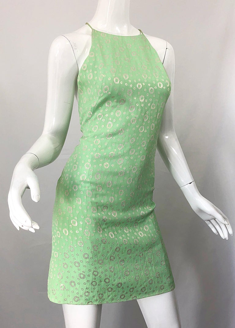 NWT 1990s James Purcell Size 4 / 6 Mint Sherbet Green Gold Racerback Silk Dress For Sale 4