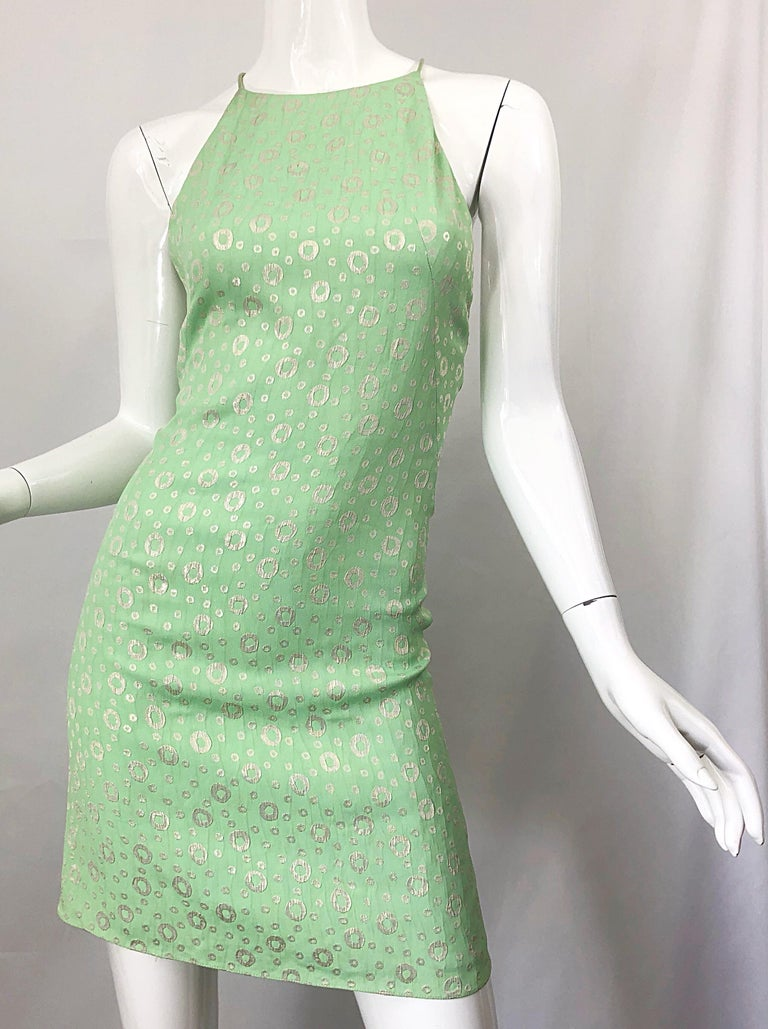 NWT 1990s James Purcell Size 4 / 6 Mint Sherbet Green Gold Racerback Silk Dress For Sale 5