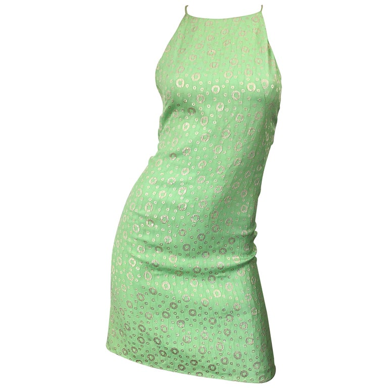 NWT 1990s James Purcell Size 4 / 6 Mint Sherbet Green Gold Racerback Silk Dress For Sale