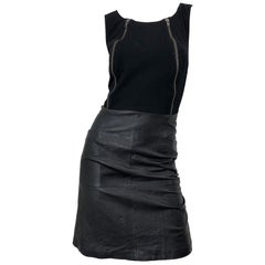 NWT 1990s Jean Louis Scherrer Black Leather + Jersey Bodycon Vintage 90s Dress