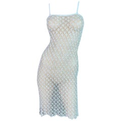 NWT 1990's Versace Classic Sheer Ivory Knit Midi Pin-Up Wiggle Dress
