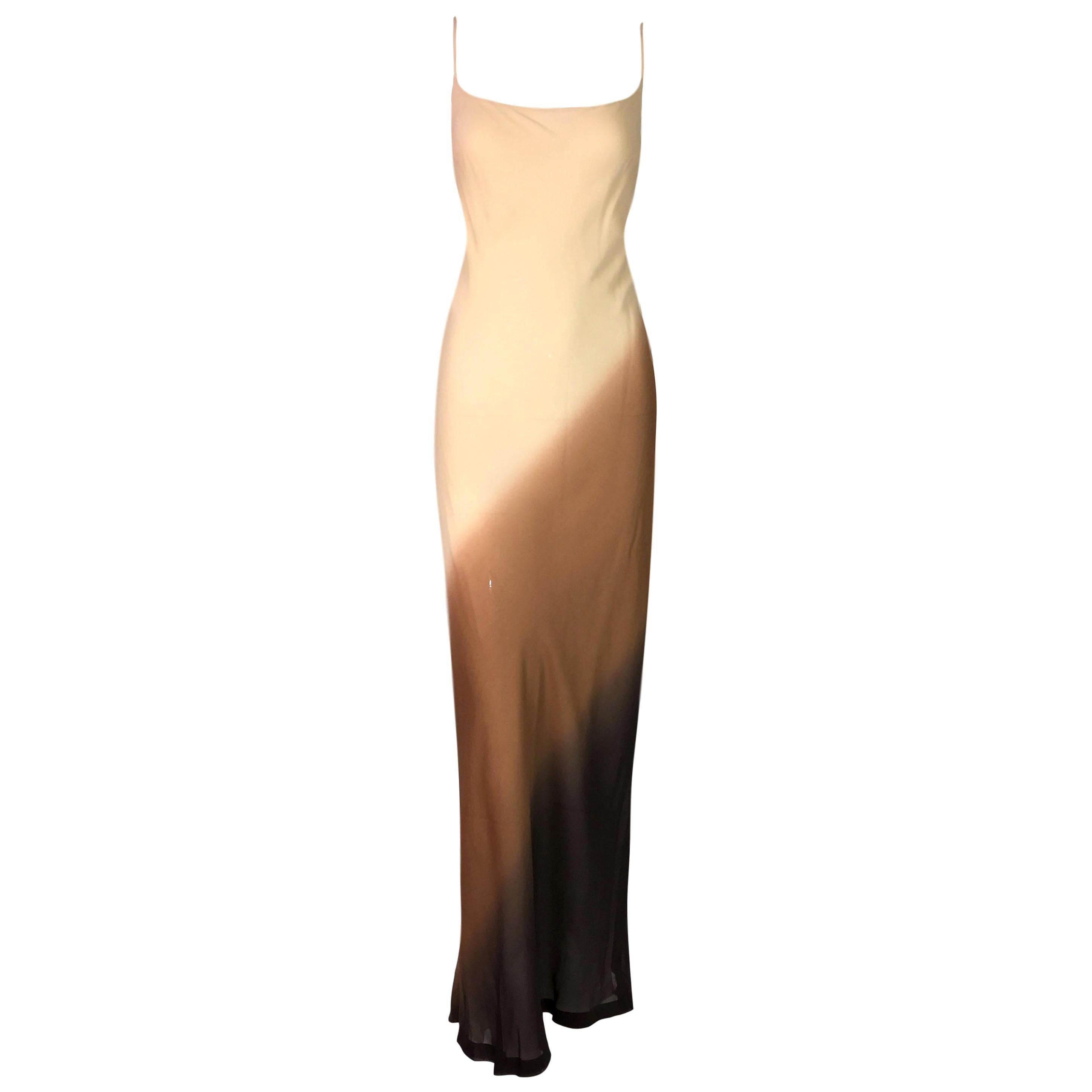 NWT 1997 Gucci by Tom Ford Sheer Nude & Brown Ombre Silk Gown Dress