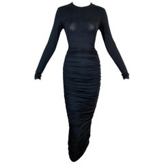 NWT 2000's Celine by Michael Kors Semi-Sheer Black Ruched Long Wiggle Dress