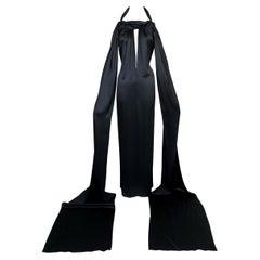 NWT 2001 Yves Saint Laurent Tom Ford Black Satin Plunging Column Gown Dress