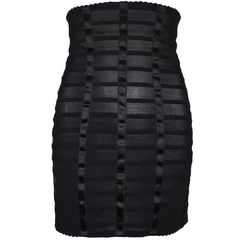NWT 2005 Dolce & Gabbana Pin-Up Sheer Mesh Bandage Corset High Waist Skirt