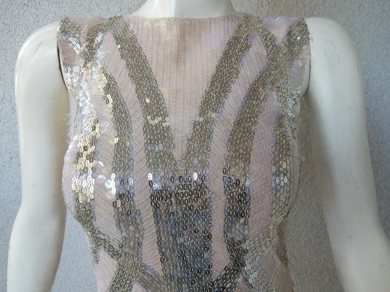 NWT Alexander McQueen 2009 Shimmer & Sparkle Nude Beaded Sexy Evening Dress In New Condition For Sale In Los Angeles, CA
