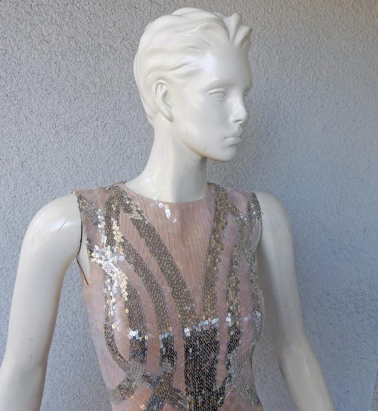Women's NWT Alexander McQueen 2009 Shimmer & Sparkle Nude Beaded Sexy Evening Dress For Sale