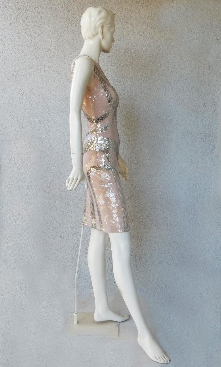 NWT Alexander McQueen 2009 Shimmer & Sparkle Nude Beaded Sexy Evening Dress For Sale 1