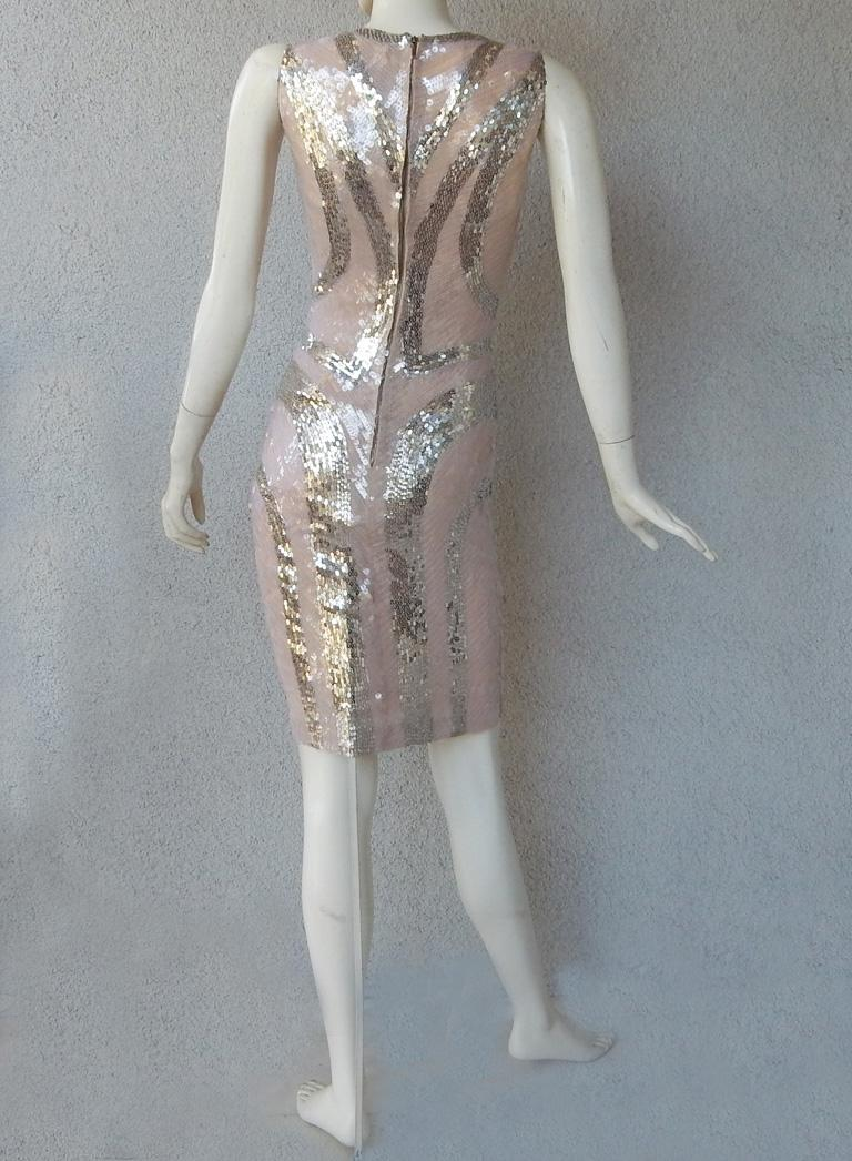 NWT Alexander McQueen 2009 Shimmer & Sparkle Nude Beaded Sexy Evening Dress For Sale 2