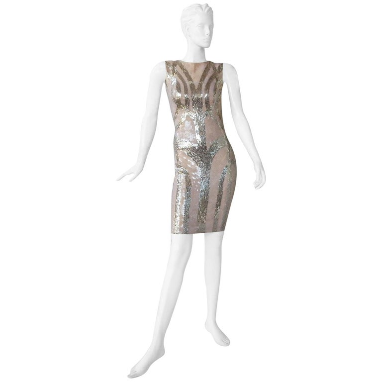 NWT Alexander McQueen 2009 Shimmer & Sparkle Nude Beaded Sexy Evening Dress For Sale