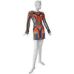NWT Balmain Runway Handmade Multihued Macrame Crochet Dress