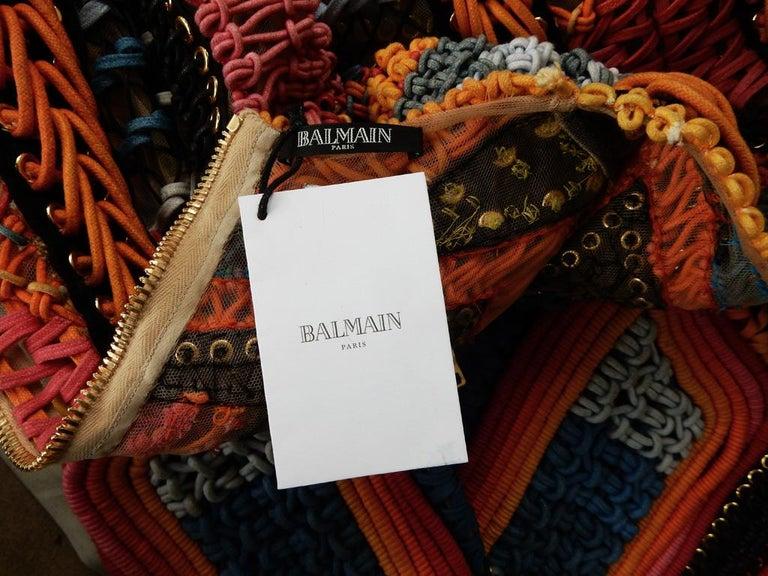 NWT Balmain Runway Handmade Multihued Macrame Crochet Dress  For Sale 5