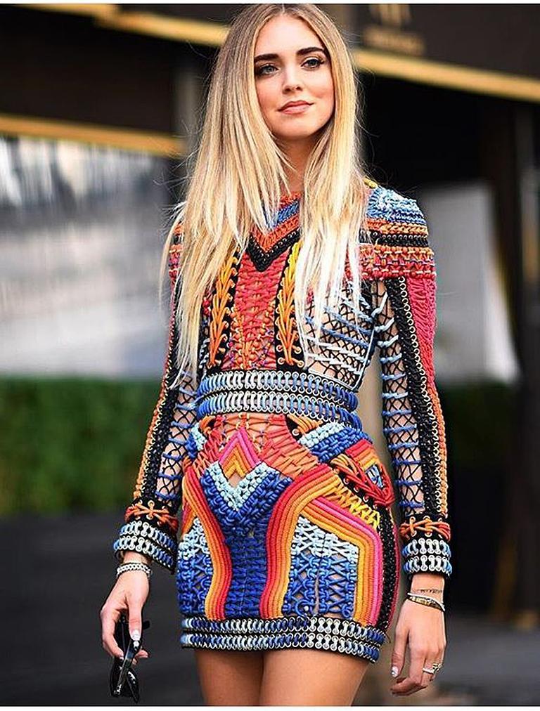 NWT Balmain Runway Handmade Multihued Macrame Crochet Dress  For Sale 6