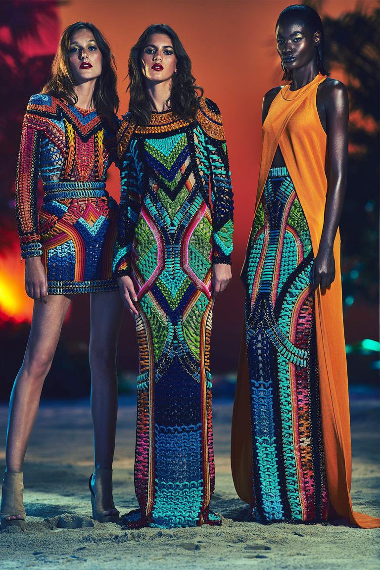 Gray NWT Balmain Runway Handmade Multihued Macrame Crochet Dress  For Sale