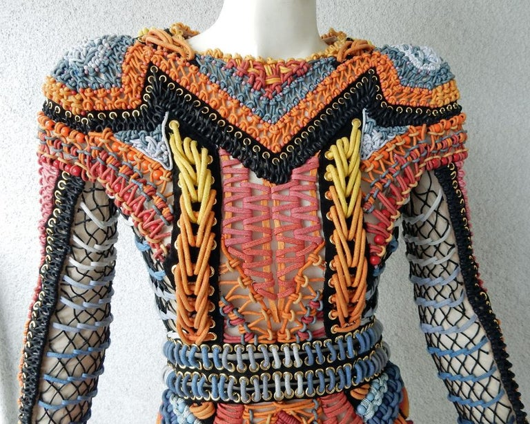 NWT Balmain Runway Handmade Multihued Macrame Crochet Dress  In New Condition For Sale In Los Angeles, CA
