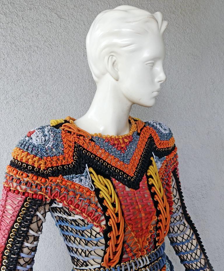 NWT Balmain Runway Handmade Multihued Macrame Crochet Dress  For Sale 1