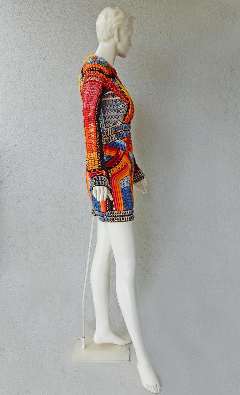 NWT Balmain Runway Handmade Multihued Macrame Crochet Dress  For Sale 2