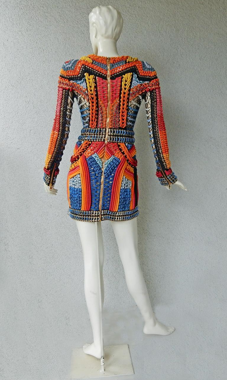 NWT Balmain Runway Handmade Multihued Macrame Crochet Dress  For Sale 3