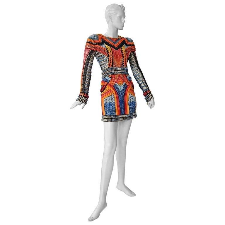 NWT Balmain Runway Handmade Multihued Macrame Crochet Dress  For Sale