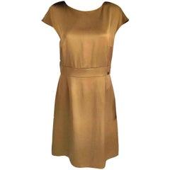 NWT Chanel 2010 10A Gold Bronze 100% Silk A-Line Shimmer Dress FR 40/ US 8