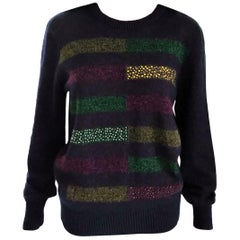NWT Chanel 2012 12A Runway Crystal & Metallic Multi Color Sweater FR 40/ US 6 8