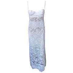 NWT D&G by Dolce & Gabbana S/S 2005 Sheer Knit Crochet Lace Ivory Gown Dress