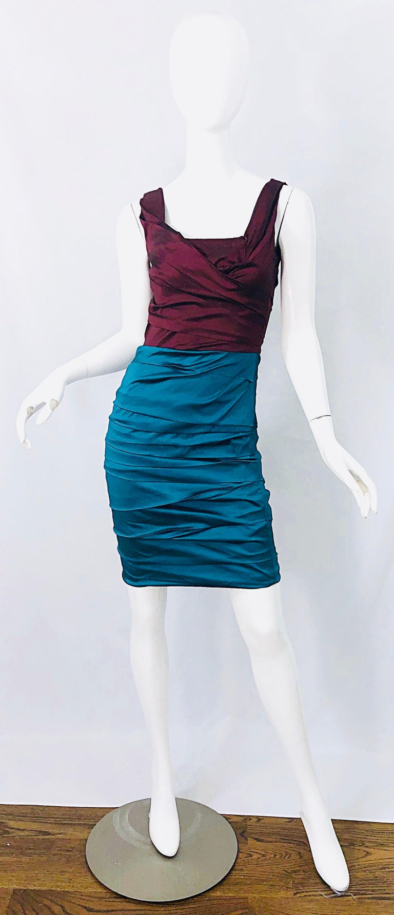 Sexy late 90s brand new DOLCE & GABBANA burgundy / maroon and turquoise blue silk ruched sleeveless dress ! This beauty reminds me of