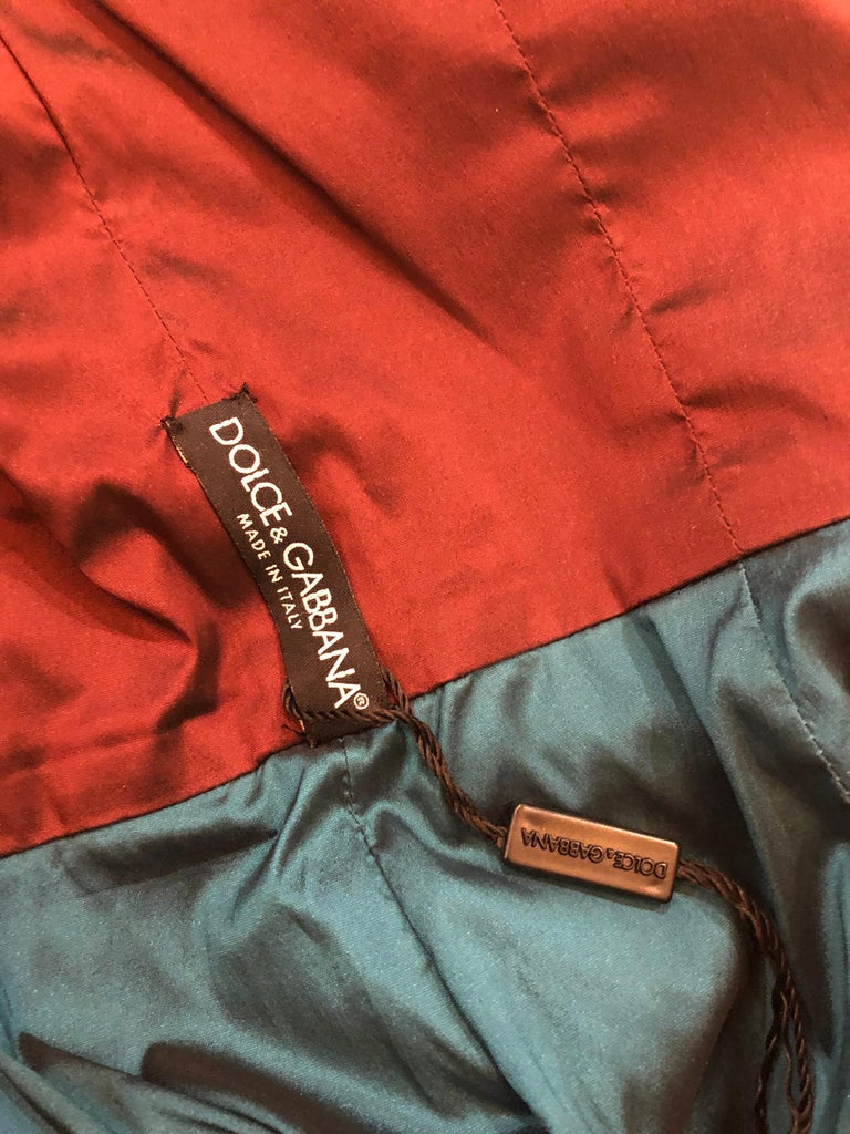 NWT Dolce and Gabbana 1990s Burgundy Turquoise Blue Colorblock Vintage Dress In New Condition For Sale In Chicago, IL