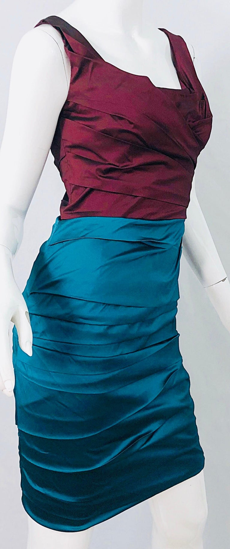 NWT Dolce and Gabbana 1990s Burgundy Turquoise Blue Colorblock Vintage Dress For Sale 3
