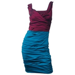 NWT Dolce and Gabbana 1990s Burgundy Turquoise Blue Colorblock Vintage Dress
