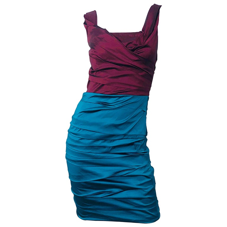 NWT Dolce and Gabbana 1990s Burgundy Turquoise Blue Colorblock Vintage Dress For Sale
