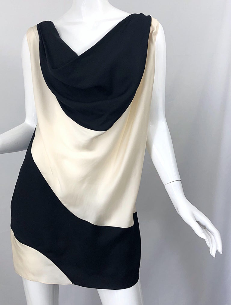 Vintage Donna Karan Runway Collection Black & White Ivory Sz 10 / 12 Tunic Dress For Sale 6