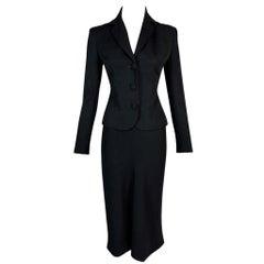 NWT F/W 1995 John Galliano Classic Black Pin-Up Jacket Skirt Suit