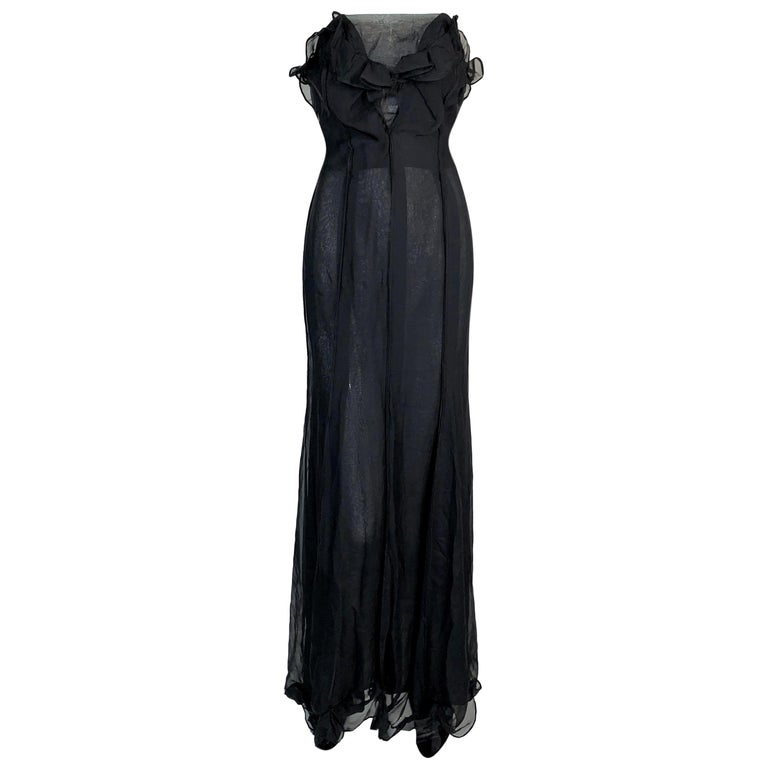 NWT F/W 2002 Yves Saint Laurent Tom Ford Sheer Black Strapless Gown Dress For Sale