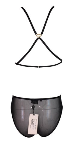 f79b925bb98 NWT F W 2003 Gucci by Tom Ford Sheer Black Mesh Bondage Bra and Panty Set  For Sale at 1stdibs