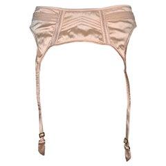 NWT F/W 2003 Gucci Tom Ford Peach Nude Satin Garter Belt Lingerie